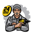 repair worker smiling holding the wrench and drill vector image