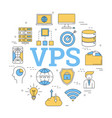 round concept of virtual private server vector image