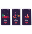 santa claus driving car forklift and scooter set vector image