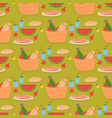 seamless pattern picnic basket with food on grass vector image