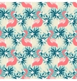 Seamless pattern with flamingo and tropical plants vector image