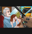 senior man driving in the city vector image vector image