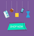 shop now emblem and goods vector image