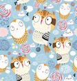 texture owls in the clouds vector image vector image
