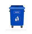 trash can on wheels for sorting paper flat vector image vector image