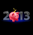 twenty thirteen year piggy bank with coins on vector image vector image