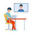 video conference in laptop online chat vector image vector image