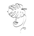 woman face with monstera leaves one line drawing vector image