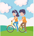 woman with headphones riding bike and man walk vector image vector image