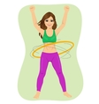 Young woman doing exercise with a hula-hoop vector image vector image
