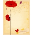 Vintage love flowers card old paper texture vector image