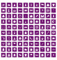100 dress icons set grunge purple vector image vector image