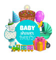 baby shower party banner with toys and pie vector image vector image