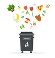 black trash can for organic waste flat isolated vector image vector image