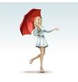 blonde woman girl under red umbrella in dress vector image vector image