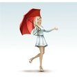 Blonde Woman Girl Under the Red Umbrella in Dress vector image
