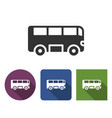 bus icon in different variants with long shadow vector image vector image