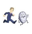 Businessman is chasing time vector image