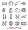 car service and auto repair thin line icons vector image