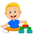 Cartoon baby is playing with educational toys vector image