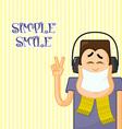Cartoon man with music vector image