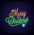 christmas neon lettering with merry xmas vintage vector image