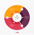 circle chart infographic template with 3 options vector image vector image
