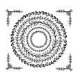 Circular vintage floral hand drawn frames vector image