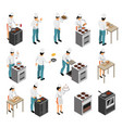 cook profession isometric set vector image vector image