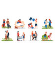 couple people activity set young old lovers vector image vector image