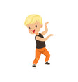 cute blonde little boy dancing in casual clothes vector image vector image