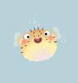 cute cartoon puffer fish vector image vector image