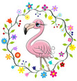 cute flamingo in a flowers frame vector image vector image