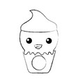 delicious ice cream basket kawaii character vector image