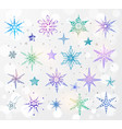 doodle blue and violet snowflakes on white glowing vector image vector image