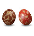 easter eggs with ornamental pattern vector image vector image