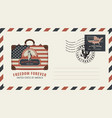 envelope with suitcase statue of liberty and flag vector image vector image