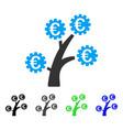 Euro technology tree flat icon
