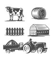 farm collection black and white vector image vector image