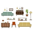 Flat furniture and interior accessories vector image vector image