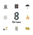 flat icon gain set of parasol bank cash and vector image vector image