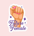 future female quote with raised fist girl power vector image