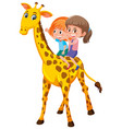 girls riding giraffe on white background vector image
