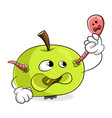 green apple with a worm concept get rid bad vector image vector image