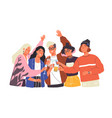 group of happy boys and girls clinking glasses vector image vector image