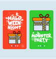 happy halloween invitation design with giftbox vector image