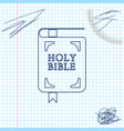 holy bible book line sketch icon isolated on white vector image vector image