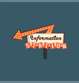 information station retro street signboard vector image