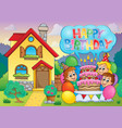 kids party near house 3 vector image vector image