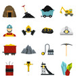 miner set flat icons vector image vector image